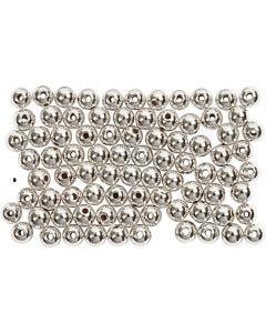 Voksperler, dia. 4 mm, hullstr. 0,7 mm, sølv, 150 stk./ 1 pk.