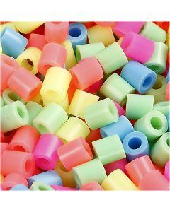 Rørperler, str. 5x5 mm, hullstr. 2,5 mm, medium, pastellfarger, 6000 ass./ 1 pk.