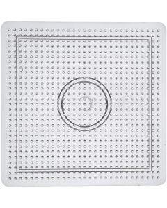 Perleplate, str. 14,5x14,5 cm, transparent, 1 stk.