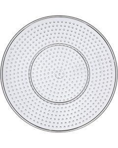 Perleplate, stor rund, dia. 15 cm, transparent, 10 stk./ 1 pk.