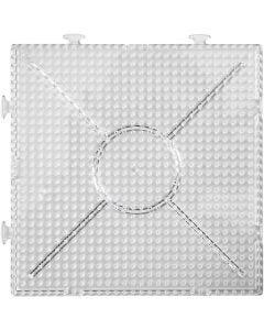 Perleplate, stor samlekvadrat, str. 15x15 cm, transparent, 2 stk./ 1 pk.