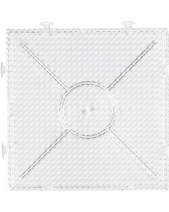 Perleplate, str. 15x15 cm, transparent, 1 stk.