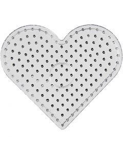 Perlebrett, hjerte, JUMBO, transparent, 5 stk./ 1 pk.