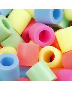 Rørperler, str. 10x10 mm, hullstr. 5,5 mm, JUMBO, pastellfarger, 3200 ass./ 1 pk.