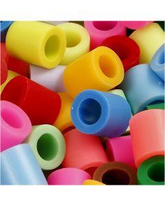 Rørperler, str. 10x10 mm, hullstr. 5,5 mm, JUMBO, suppl. farger, 1000 ass./ 1 pk.
