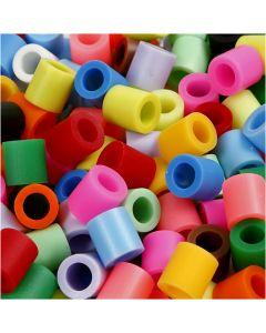 Rørperler, str. 10x10 mm, hullstr. 5,5 mm, JUMBO, suppl. farger, 550 ass./ 1 pk.