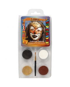 Eulenspiegel Ansiktsmaling - sminkesett, løve, ass. farger, 1 sett