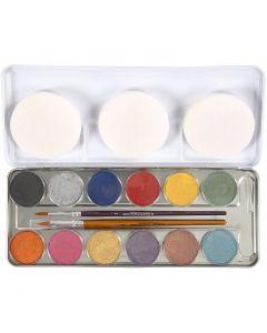 Eulenspiegel Ansiktsmaling, perlemorsfarger, 12 farge/ 1 sett