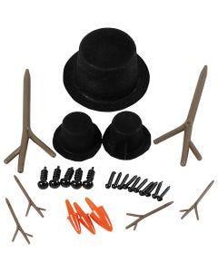 Tilbehør til snømann, str. 2,3-7 cm, 3 sett/ 1 pk.