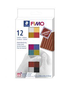 FIMO® Lær effekt, ass. farger, 12x25 g/ 1 pk.