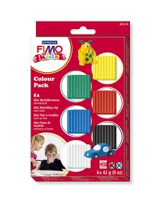 FIMO® Kids leire, standardfarger, 6x42 g/ 1 pk.