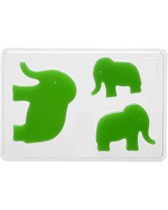 Støpeform, elefant, H: 6+8+10 cm, dybde 9 mm, str. 14,9x22 cm, 1 stk.