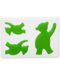 Støpeform, bjørn, H: 6+8+10 cm, dybde 9 mm, str. 14,9x22 cm, 1 stk.