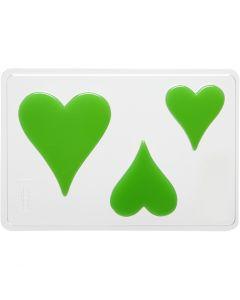Støpeform, hjerte, H: 6+8+10 cm, str. 14,9x22 cm, 1 stk.