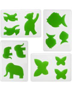 Støpeform, dyr, H: 6+8+10 cm, dybde 9 mm, str. 14,9x22 cm, 4 stk./ 1 pk.