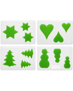 Støpeform, jul, H: 6+8+10 cm, dybde 9 mm, str. 14,9x22 cm, 4 stk./ 1 pk.