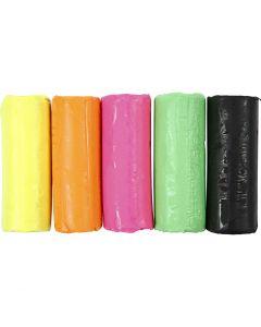 Soft Clay Modellervoks, H: 9,5 cm, neonfarger, 400 g/ 1 spann