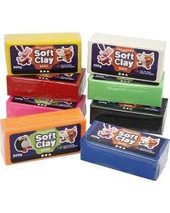 Soft Clay Modellervoks, str. 13x6x4 cm, ass. farger, 8x500 g/ 1 pk.