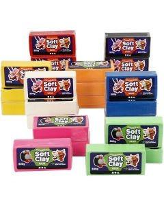 Soft Clay Modellervoks, str. 13x6x4 cm, ass. farger, 24x500 g/ 1 pk.