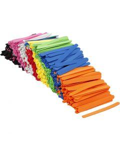 Mosgummi ispinner, L: 11,5 cm, B: 1 cm, tykkelse 2 mm, ass. farger, 1000 stk./ 1 pk.