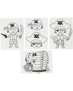 Krympeplast med motiver, pirater, 10,5x14,5 cm, matt transparent, 4 ark/ 1 pk.