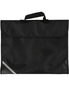 Skoleveske, dybde 9 cm, str. 36x29 cm, svart, 1 stk.