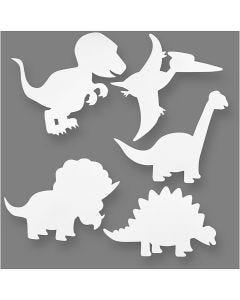 Dinosaurer, H: 15-22 cm, B: 24-25 cm, 230 g, hvit, 16 stk./ 1 pk.