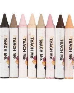 Vokskritt, L: 10 cm, dia. 15 mm, skin colours, 8 stk./ 1 pk.