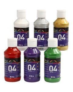 A-Color Glittermaling, nr. 04, glitter, ass. farger, 6x120 ml/ 1 pk.