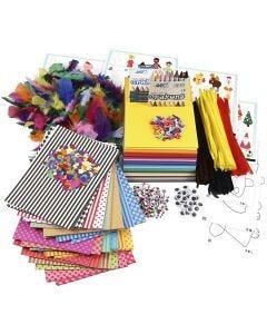 Stor kreativitetspakke med materialer og sjablonger, ass. farger, 1 sett