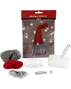 Kreativ minikit, nesenisse m/grått skjegg, H: 13 cm, 1 sett