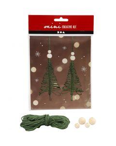 Kreativ minikit, macramaé juletre, H: 11 cm, 2 stk./ 1 sett