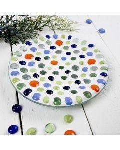Glassfat med mosaikkunst