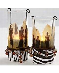 Lysglass med serviettdecoupage