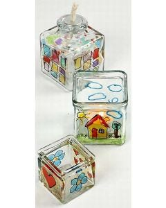 Lysglass med glass- og porselenstusj med glitter