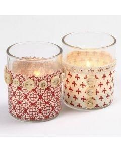 Lysglass med stoff og knapper