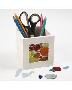 Mosaikk på beholder til blyanter