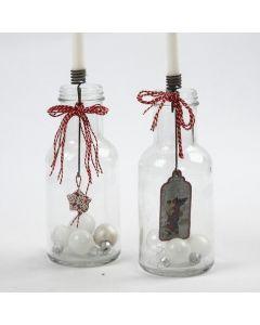 Lysholdere med dekorasjon til glass