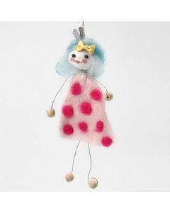 Figur av vindseltråd med kjole av nålefilt