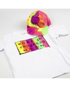 Neon tekstilmaling på T-shirt og caps