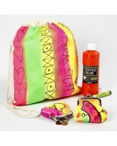 Skopose og pung malt i neonfarger