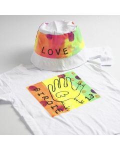 Neon tekstilmaling på t-shirt og bøllehatt
