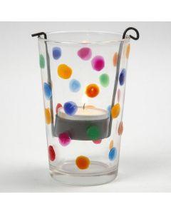 Lysglass med kulørte prikker