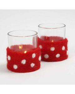 Lysglass med belte av nålefilt