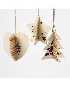 Todelte oppheng med trefinér og grafiske julemotiver
