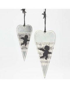 Metallhjerte pyntet med notepapir og engel