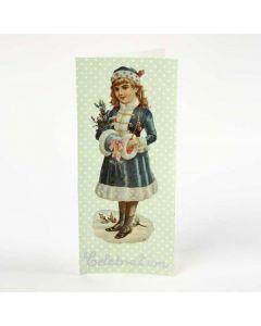 Dobbelt kort med decoupagepapir og glansbilde