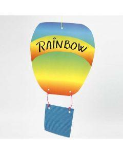 Luftballong av bølgepapp og regnbuepapir