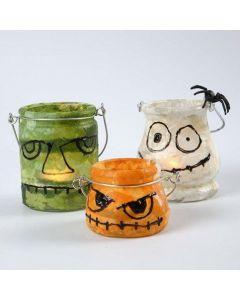 Glasslanterner dekorert med stråsilkepapir og 3D Liner