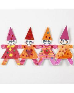 Julebord av dansende barn av utstanset papp